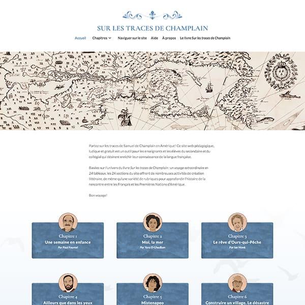 Site web du projet Sur les traces de Champlain
